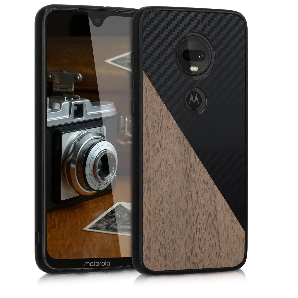 Dřevěné pouzdro | obal pro Motorola Moto G7 / Moto G7 Plus - Černá / tmavě hnědá