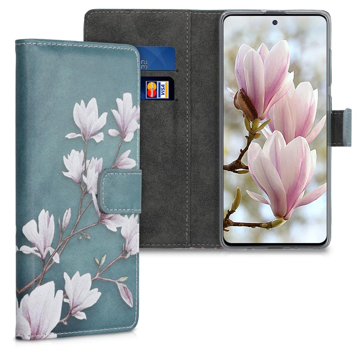 Kožené pouzdro pro Samsung A51 - Magnolie Taupe / bílá / modré šedé