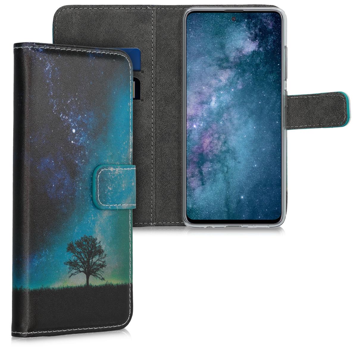 Kožené pouzdro pro Samsung A51 - kosmické přírodní modré / šedé / černé