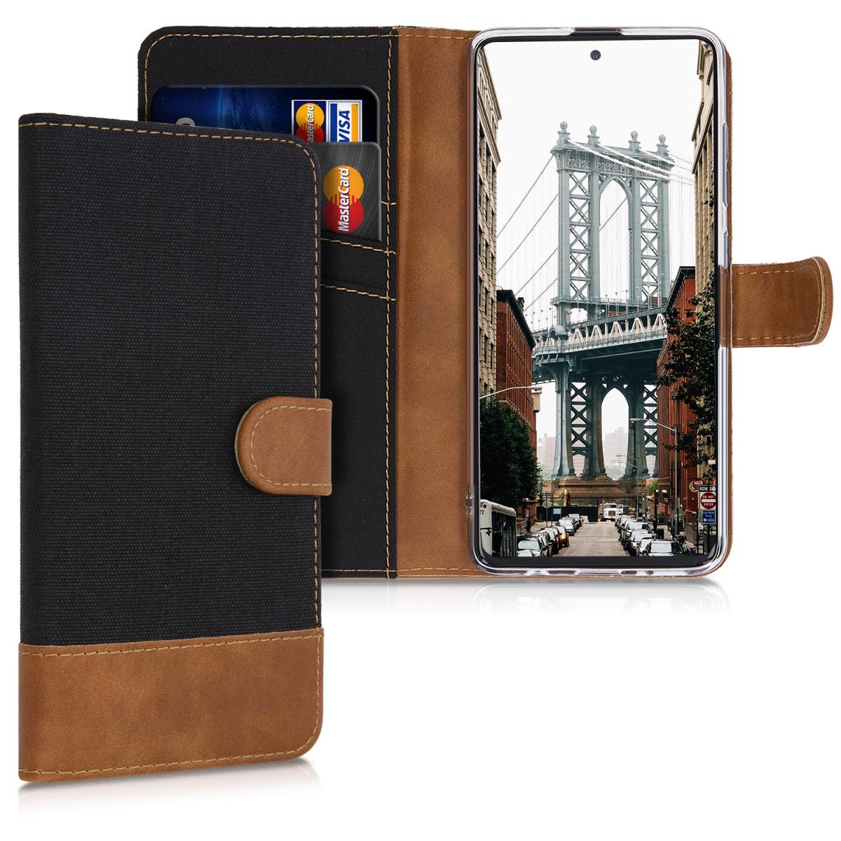 Černé textilní peněženka pouzdro / obal pro Samsung Galaxy A51