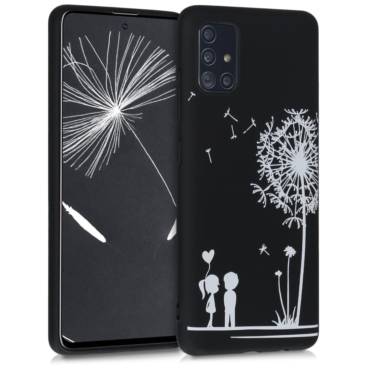 Kvalitní silikonové TPU pouzdro pro Samsung A51 - Pampeliška Láska bílá / černé