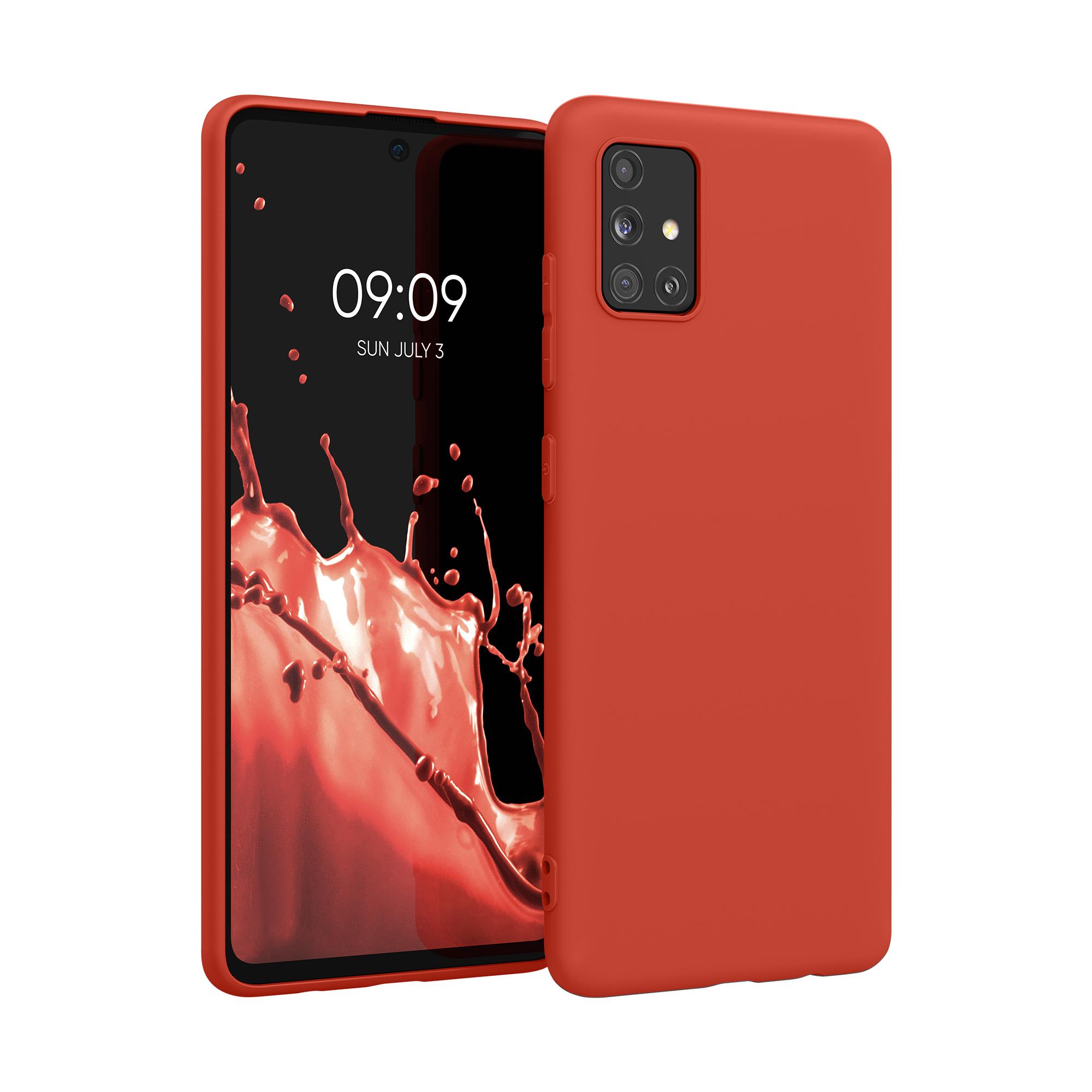 Neonově červené silikonové matné pouzdro / obal pro Samsung Galaxy A51