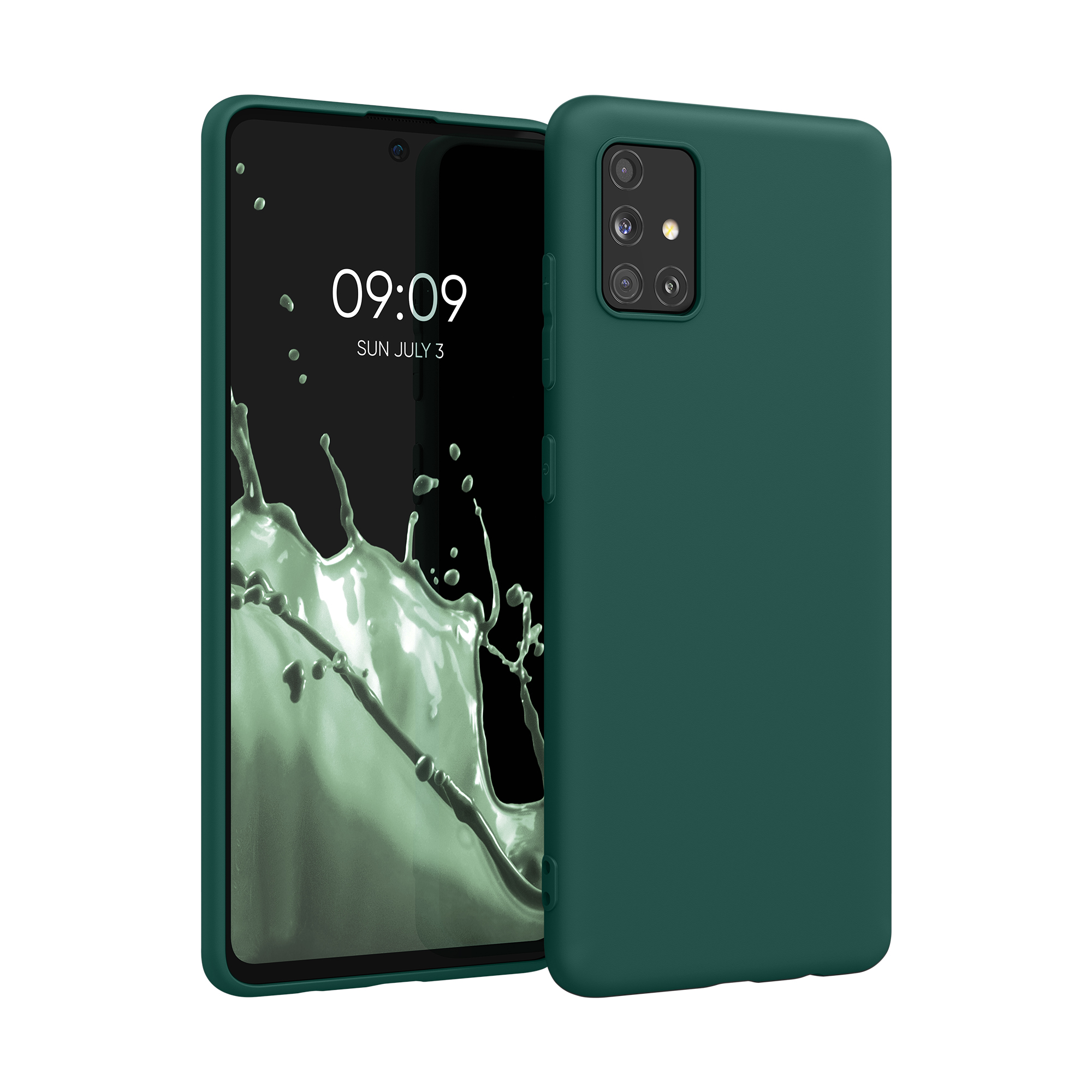 Tmavě zelené silikonové pouzdro / obal pro Samsung Galaxy A51