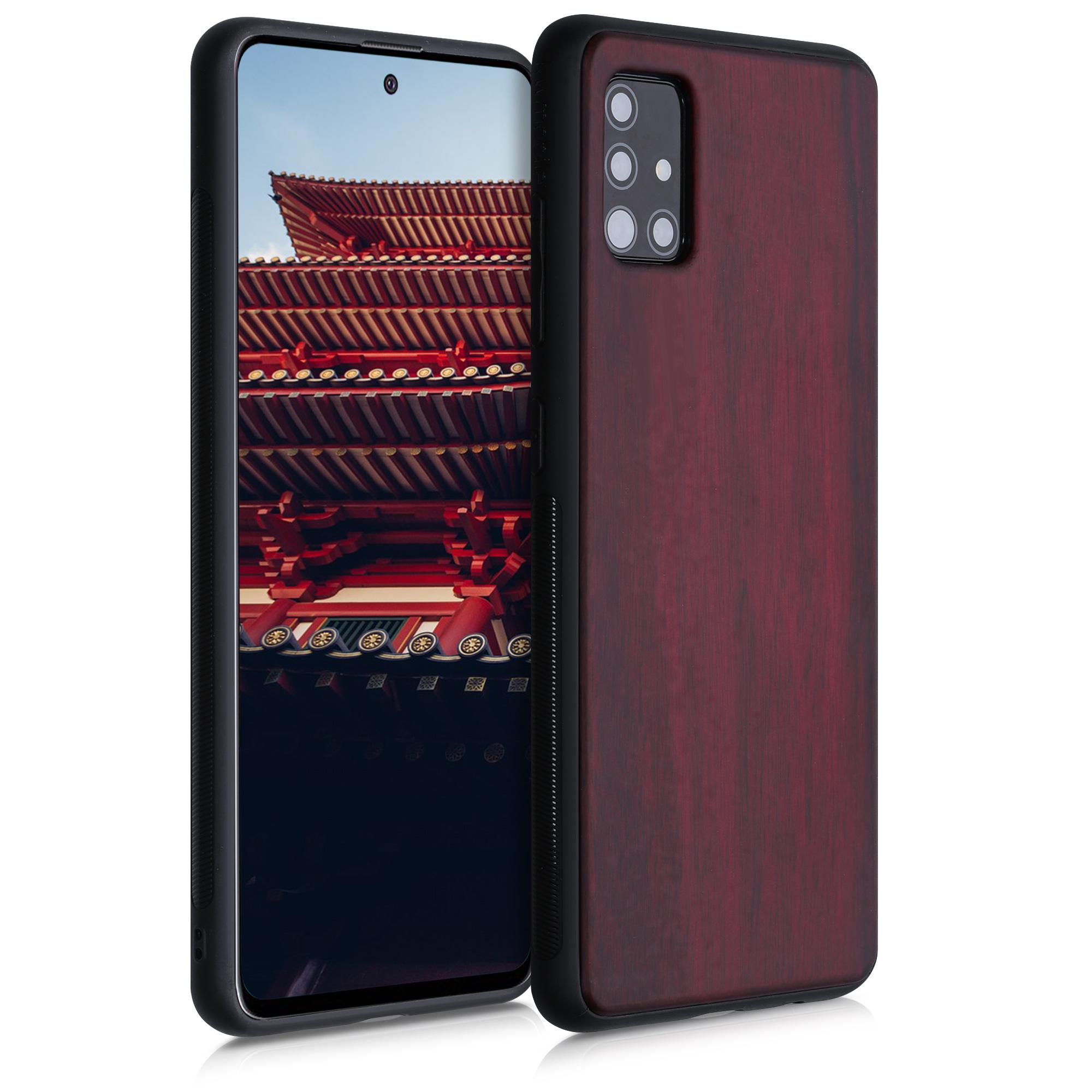 Dřevěné pouzdro pro Samsung A51 - tmavě červená