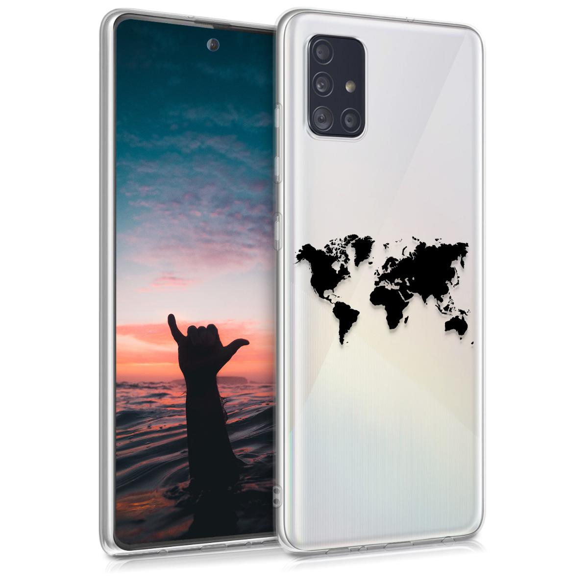 Kvalitní silikonové TPU pouzdro pro Samsung A51 - Travel Outline Black / Transparent