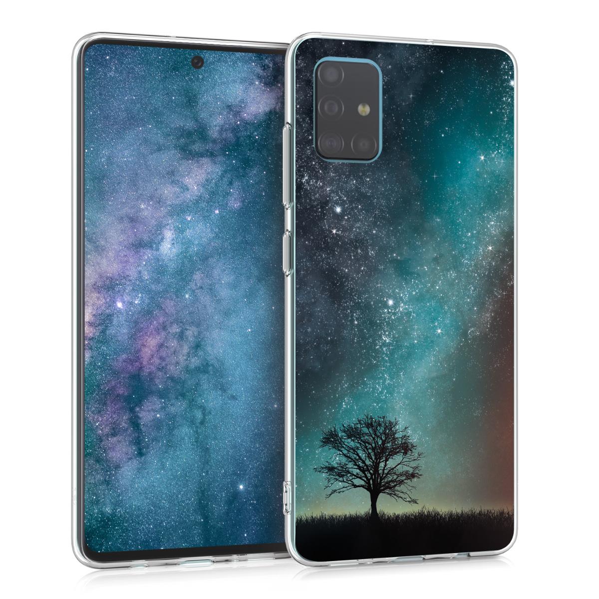 Kvalitní silikonové TPU pouzdro pro Samsung A51 - kosmické přírodní modré / šedé / černé
