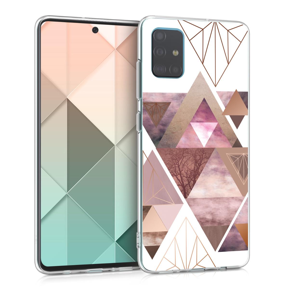 Kvalitní silikonové TPU pouzdro pro Samsung A51 - Patchwork trojúhelníky světle růžové / starorůžové rosegold / bílé