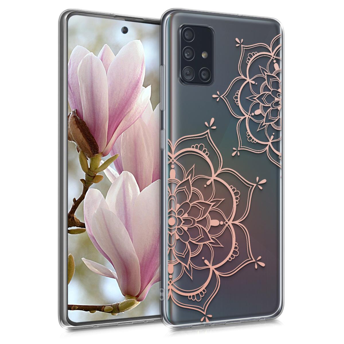 Kvalitní silikonové TPU pouzdro pro Samsung A51 - květiny Twins starorůžové rosegold / transparentní