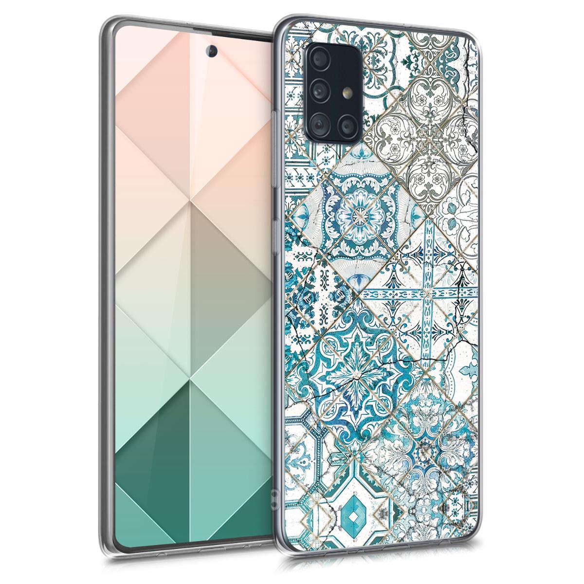 Kvalitní silikonové TPU pouzdro pro Samsung A51 - Moroccan Vibes monochromaticky modré / šedé / bílá