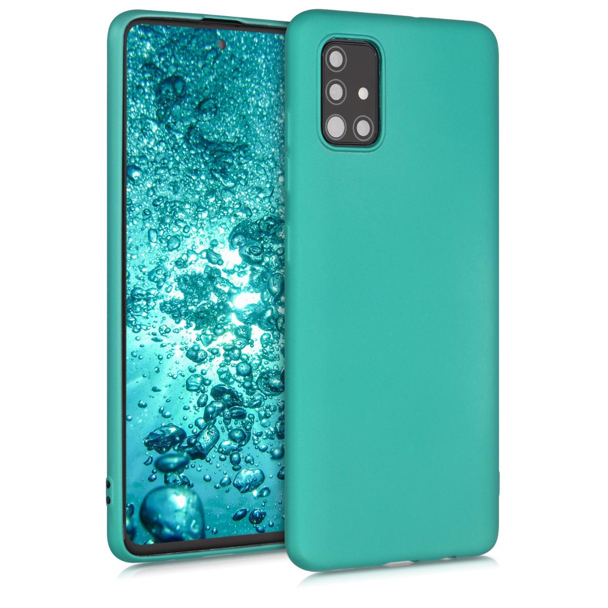 Kvalitní silikonové TPU pouzdro pro Samsung A51 - kovový Turquoise