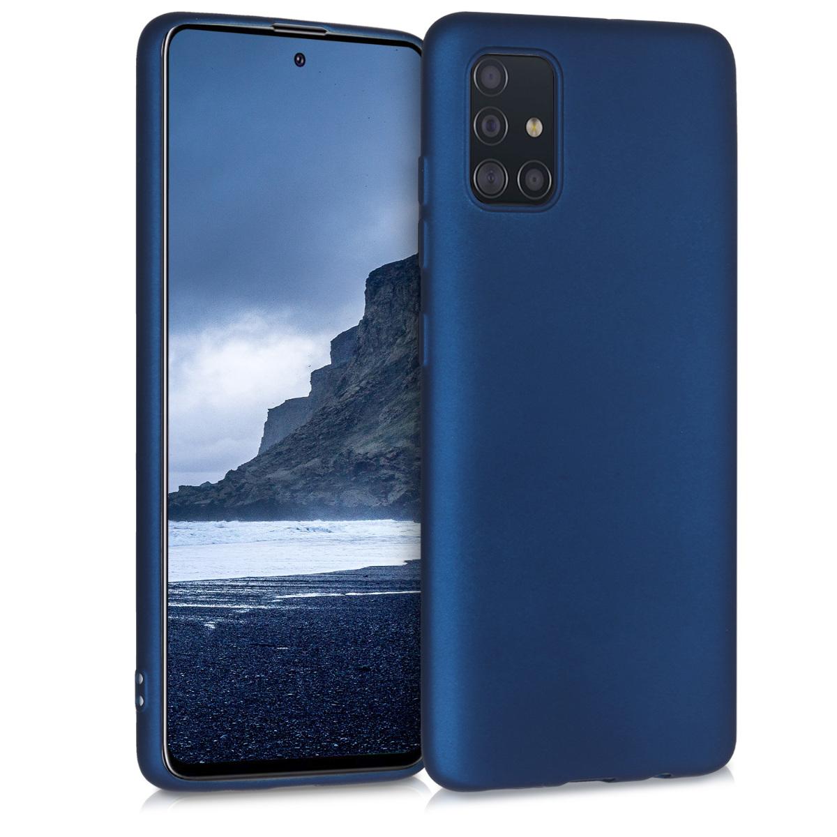Kvalitní silikonové TPU pouzdro pro Samsung A51 - modré metalické