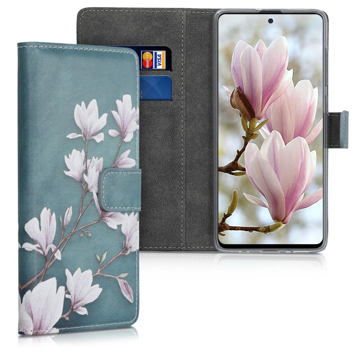 Kožené pouzdro pro Samsung A71 - Magnolie Taupe / bílá / modré šedé