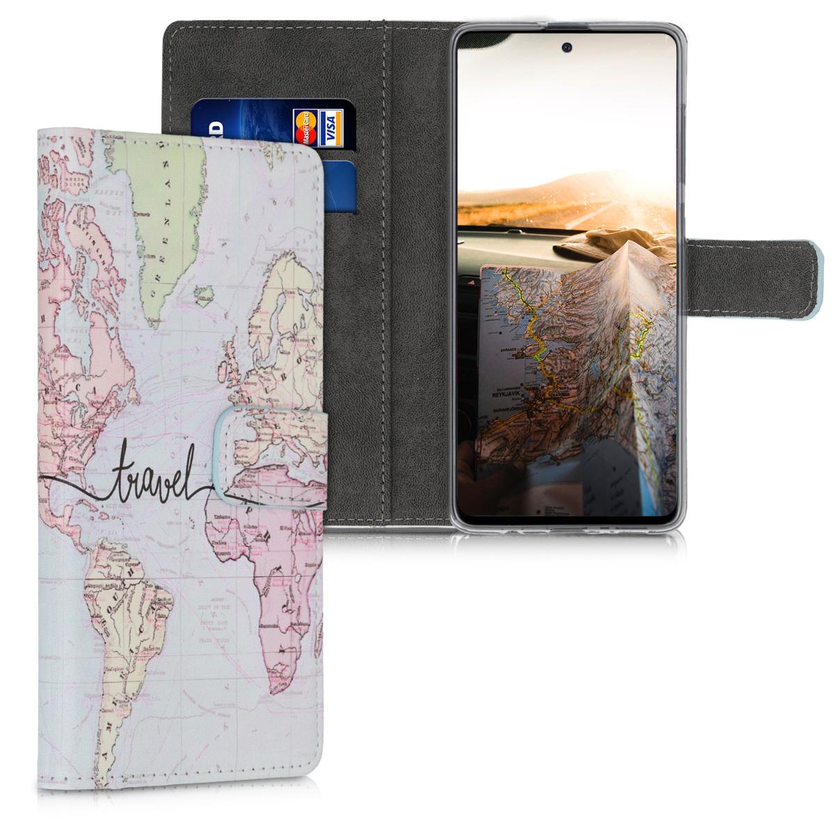Kožené pouzdro pro Samsung A71 - Travel černé / vícebarevná