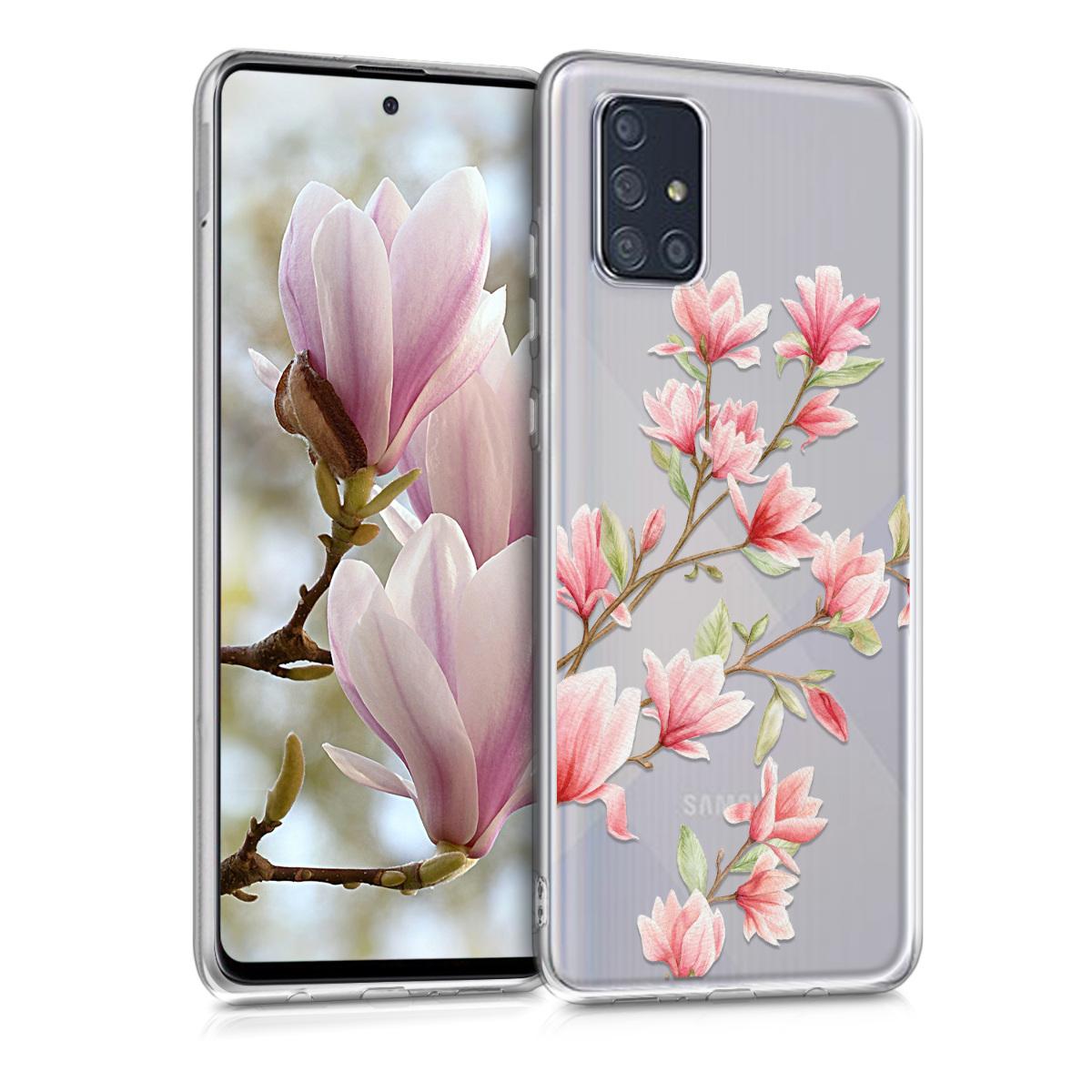 Kvalitní silikonové TPU pouzdro pro Samsung A71 - Magnolie růžové / bílé / transparentní