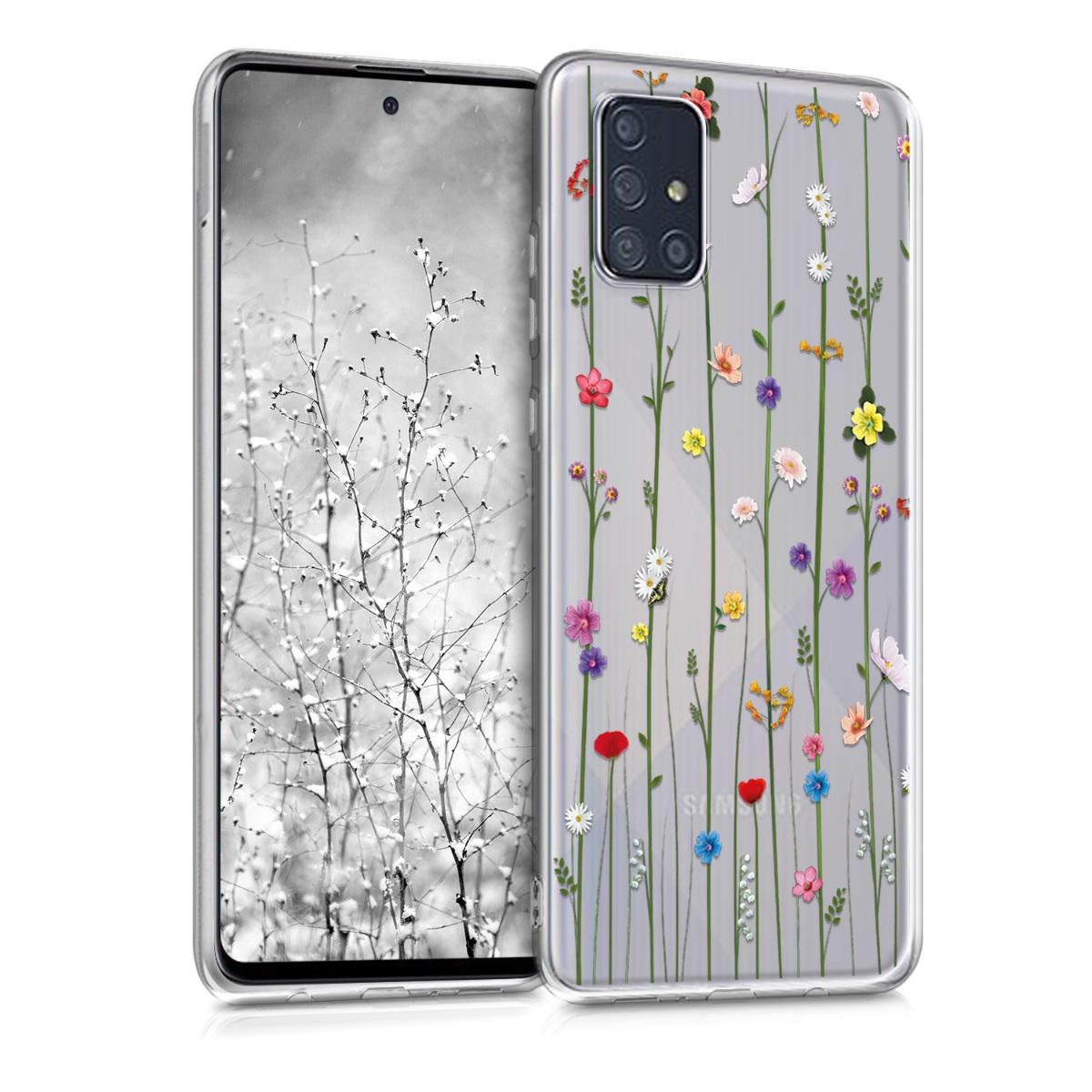 Kvalitní silikonové TPU pouzdro pro Samsung A71 - divoké květy Vines Multicolor / transparentní