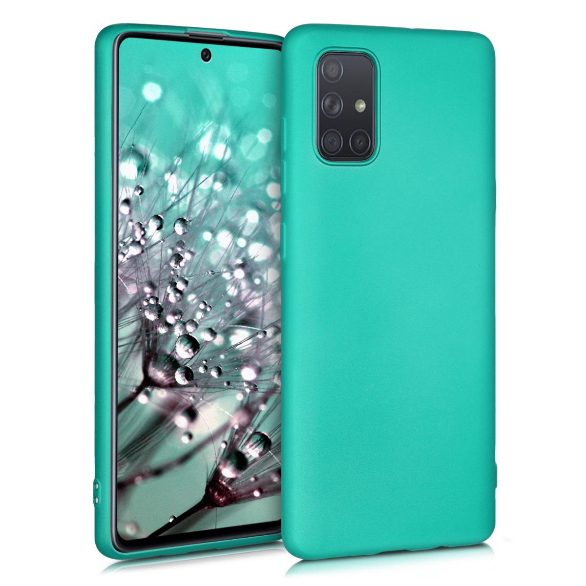 Kvalitní silikonové TPU pouzdro pro Samsung A71 - kovový Turquoise