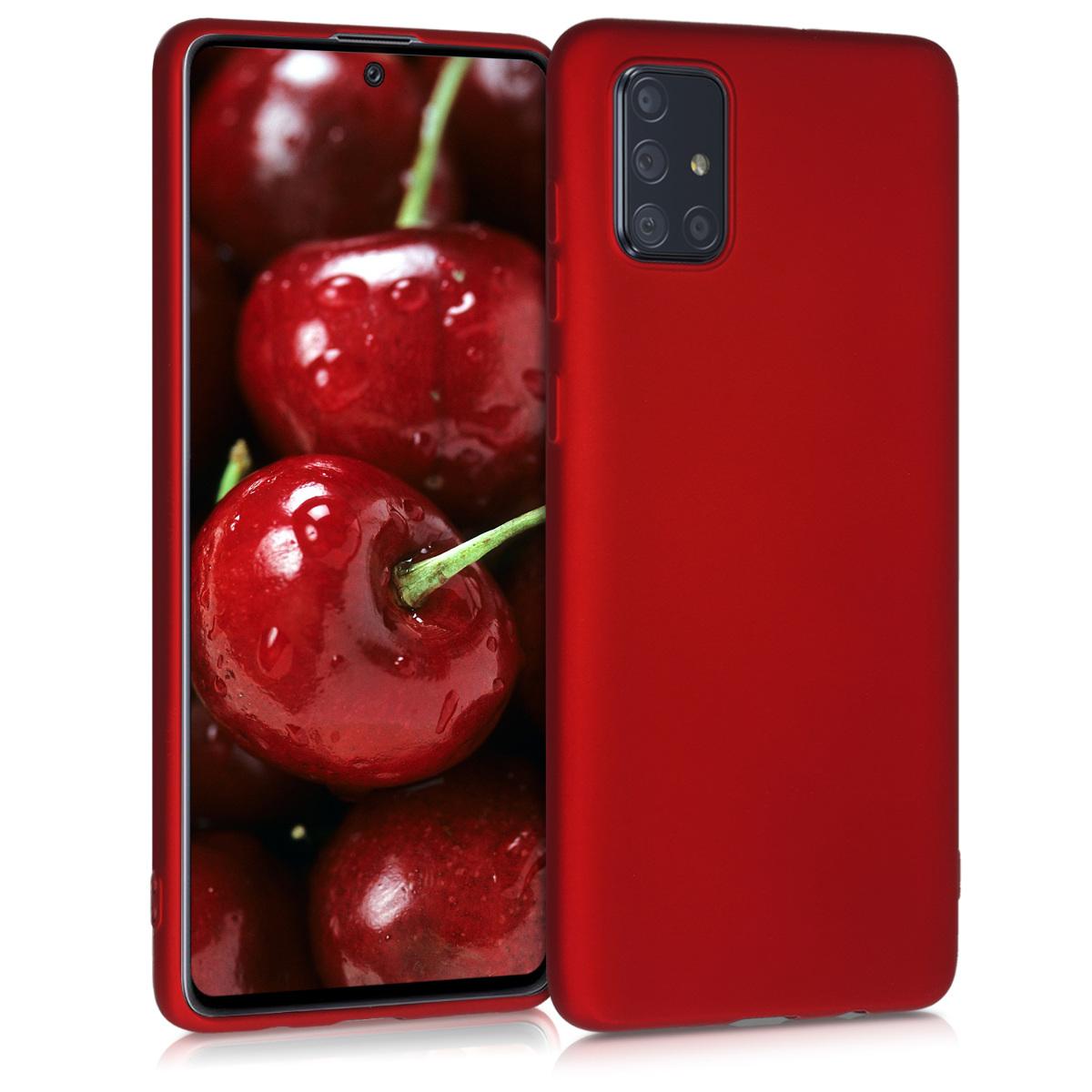 Kvalitní silikonové TPU pouzdro pro Samsung A71 - metalické tmavě červená