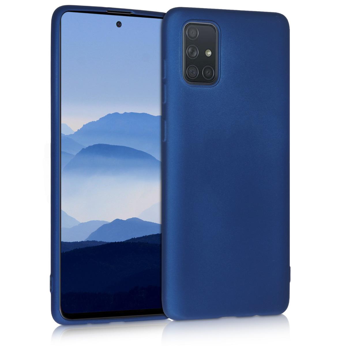 Kvalitní silikonové TPU pouzdro pro Samsung A71 - modré metalické
