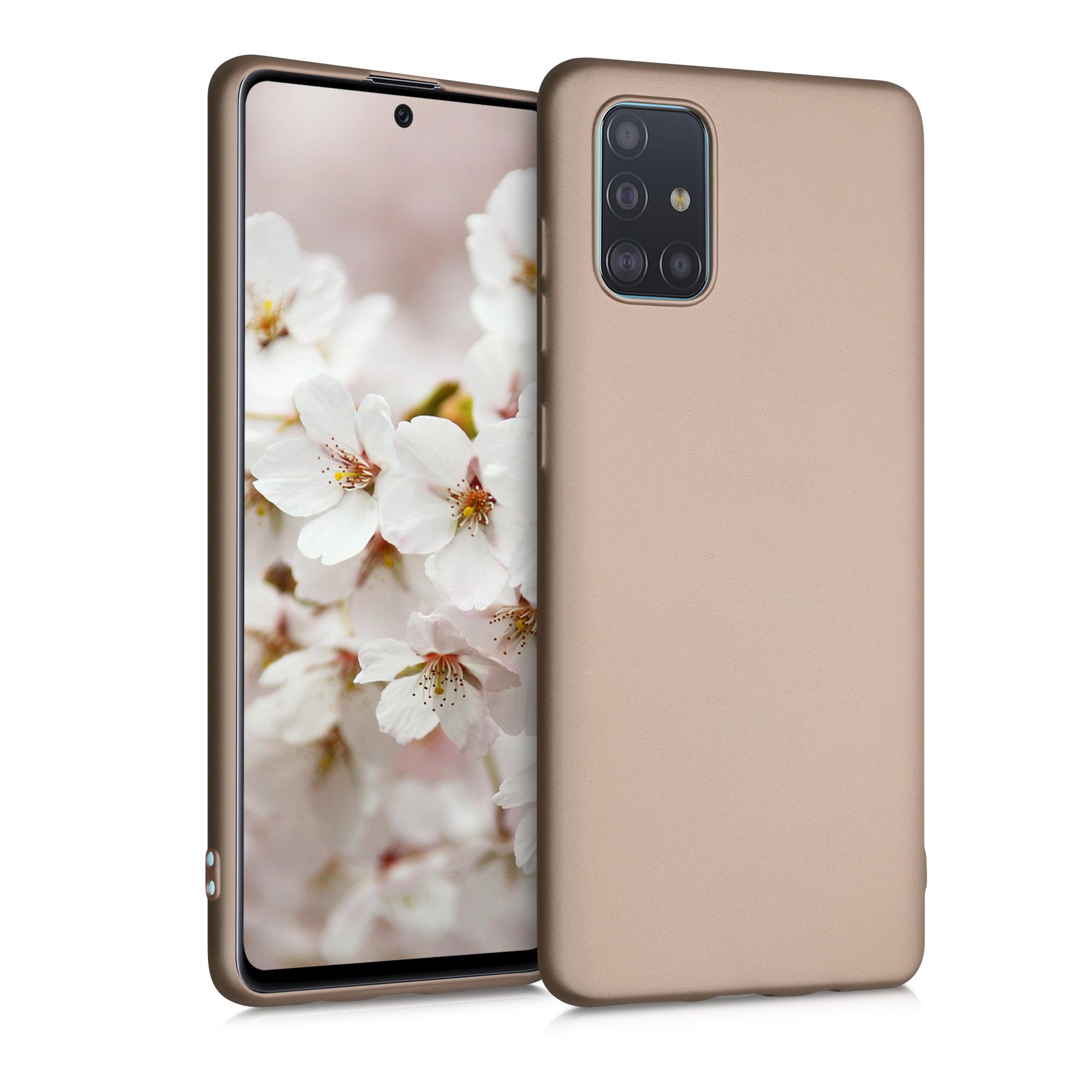 Kvalitní silikonové TPU pouzdro pro Samsung A71 - Metallic Gold