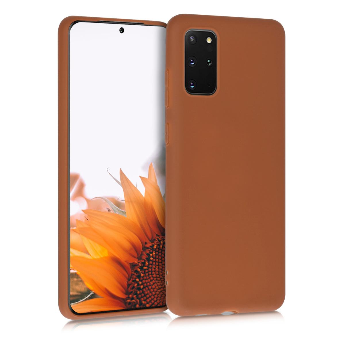 Skořicově hnědé silikonové pouzdro / obal pro Samsung S20 Plus
