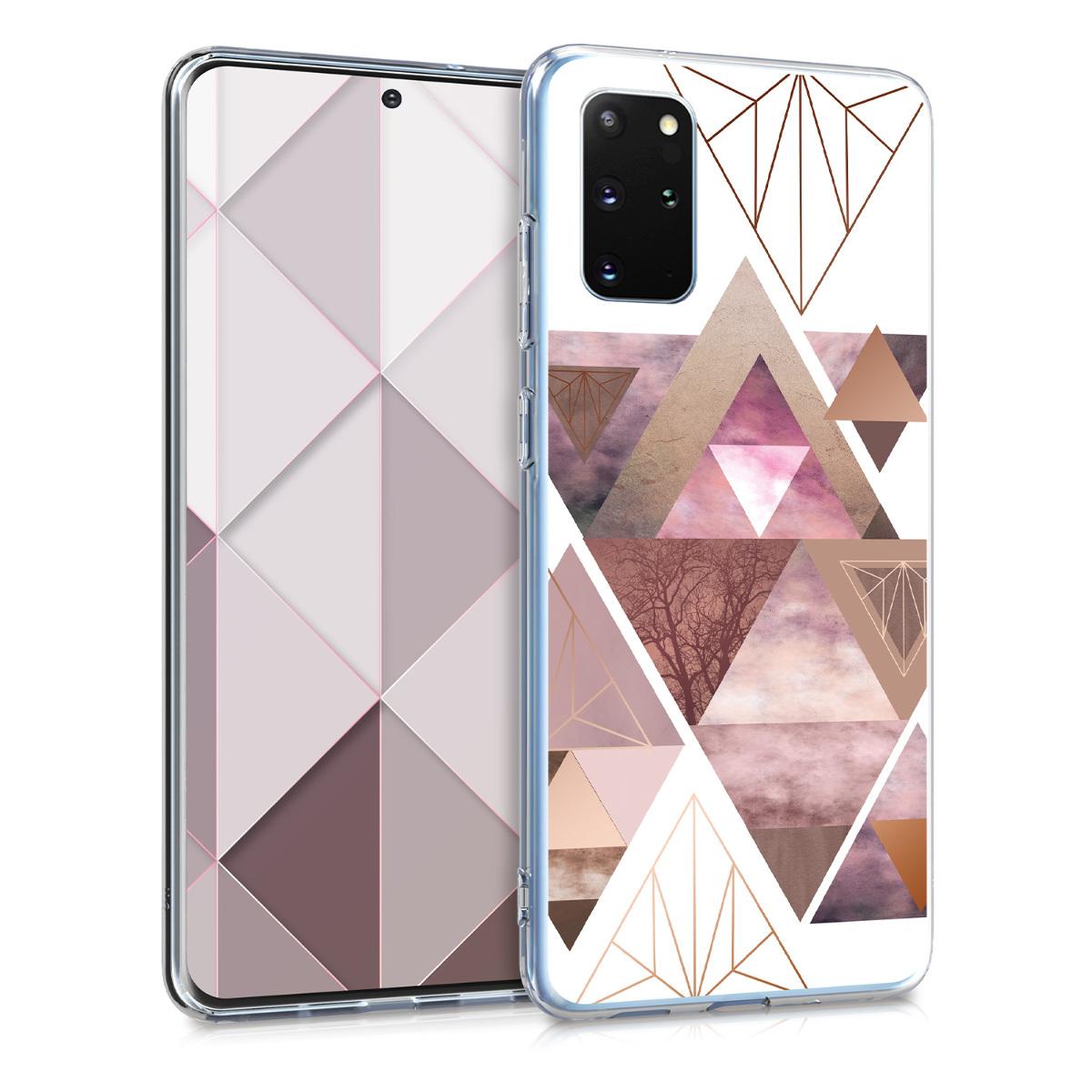 Růžové silikonové pouzdro / obal s motivem trojůhelníků  pro Samsung S20 Plus