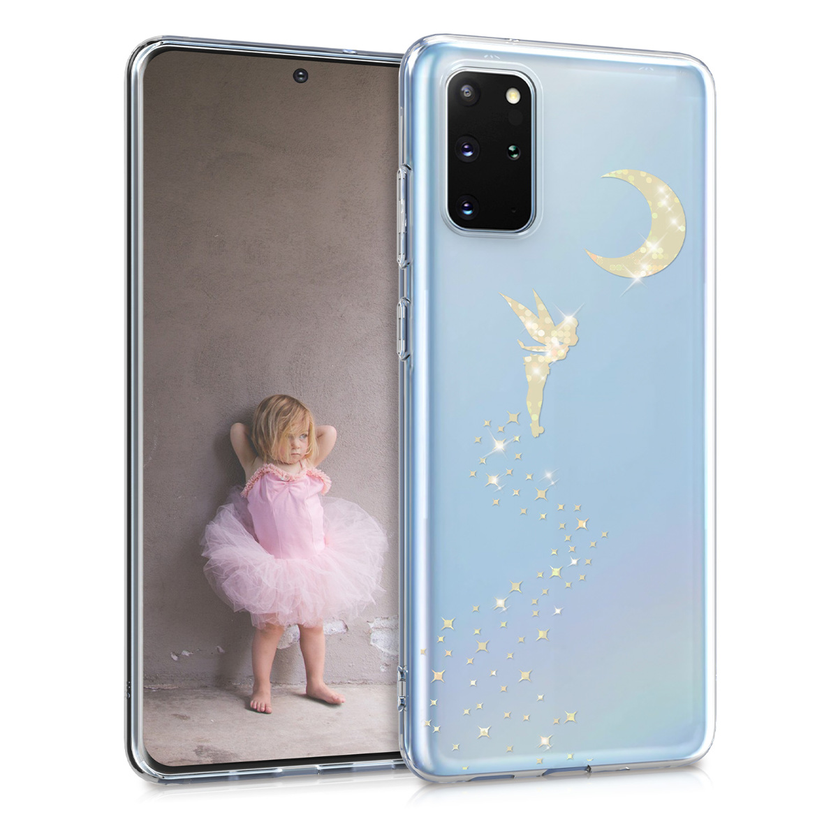 Silikonové pouzdro / obal se zlatým motivem víly a měsíce pro Samsung S20 Plus