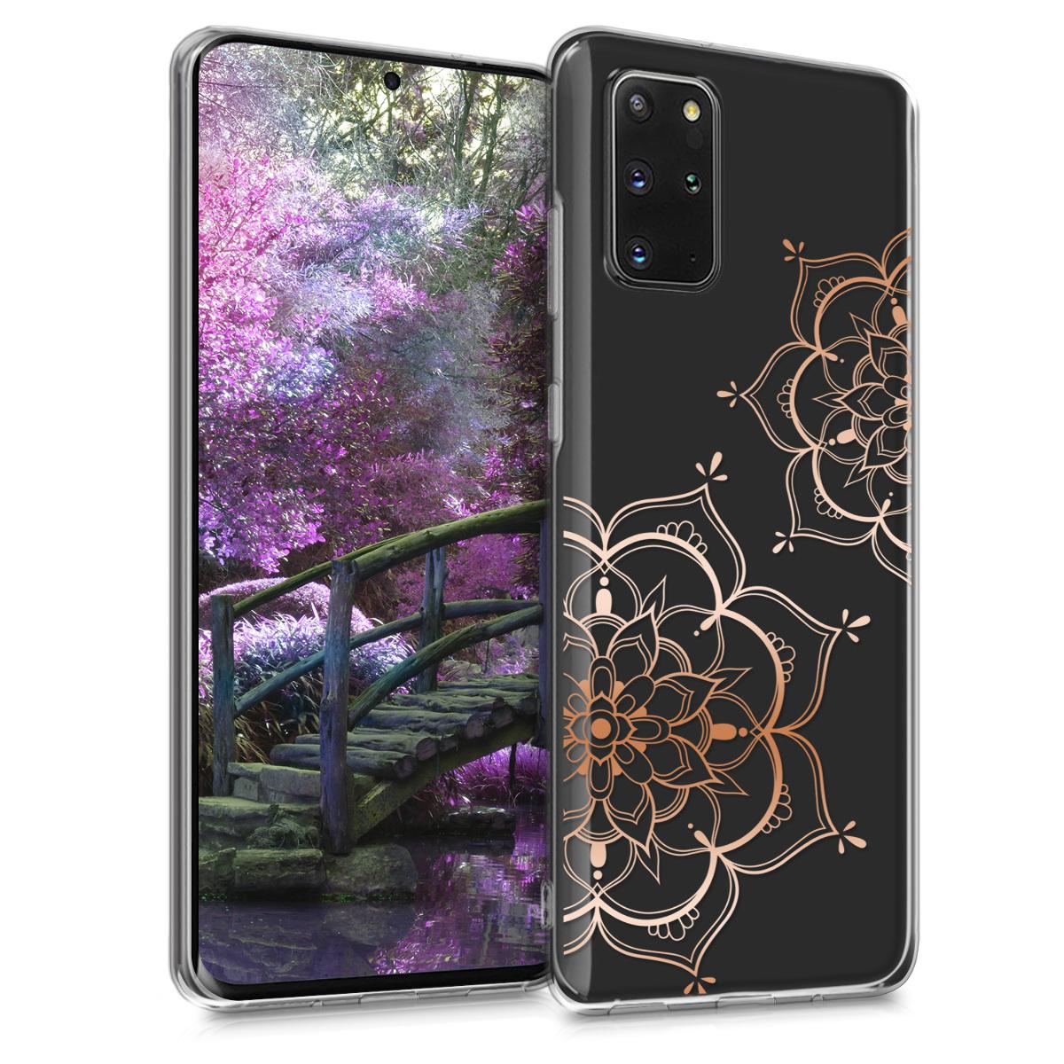 Silikonové pouzdro / obal s motivem zlatorůžových květů pro Samsung S20 Plus
