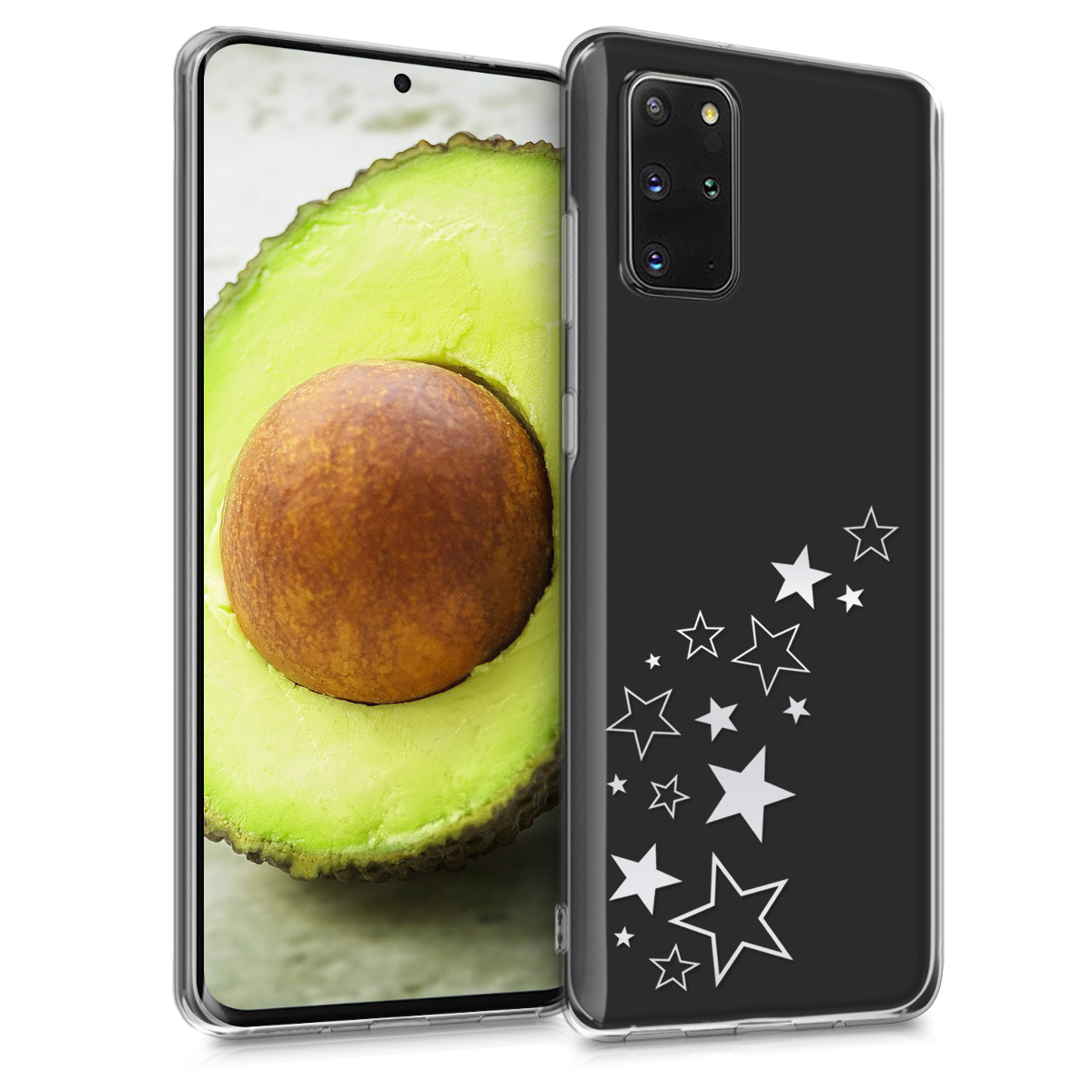 Silikonové pouzdro / obal s motivem stříbrných hvězd pro Samsung S20 Plus