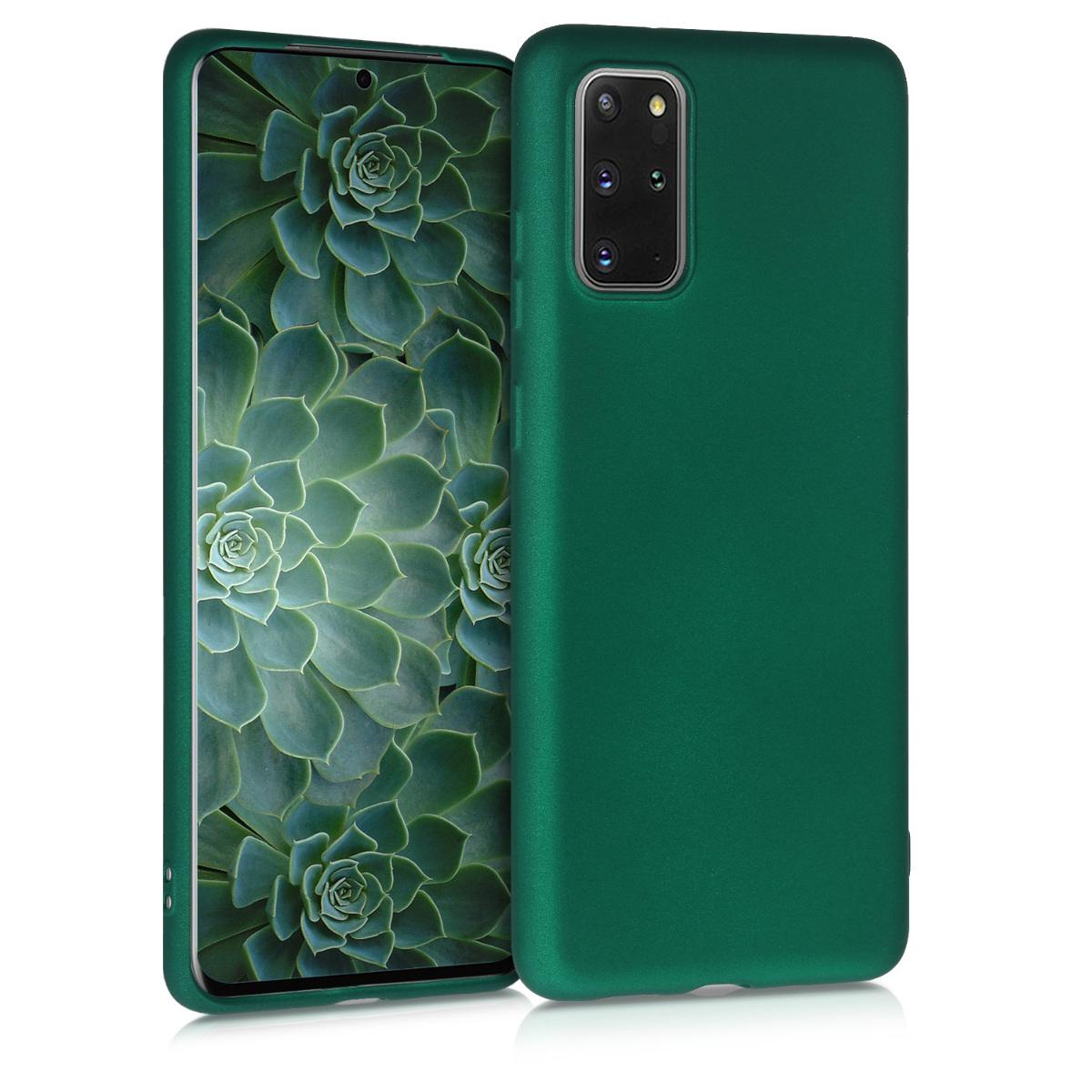 Tmavě zelené metatlické silikonové pouzdro / obal pro Samsung S20 Plus