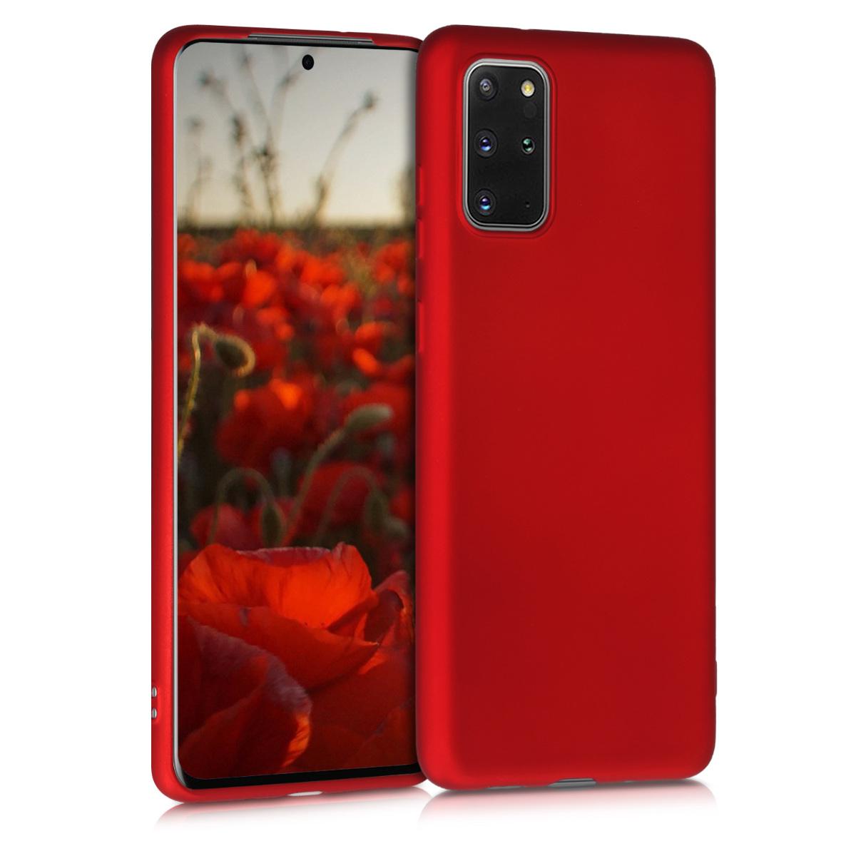 Tmavě červené metalické silikonové pouzdro / obal pro Samsung S20 Plus