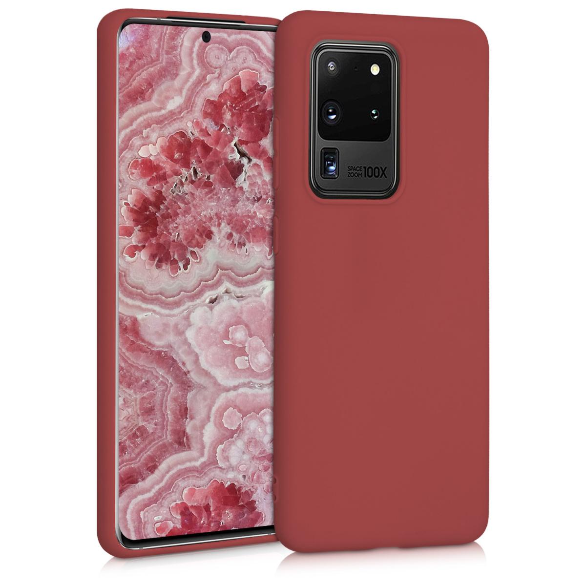 Kaštanově červené silikonové pouzdro / obal pro Samsung S20 Ultra