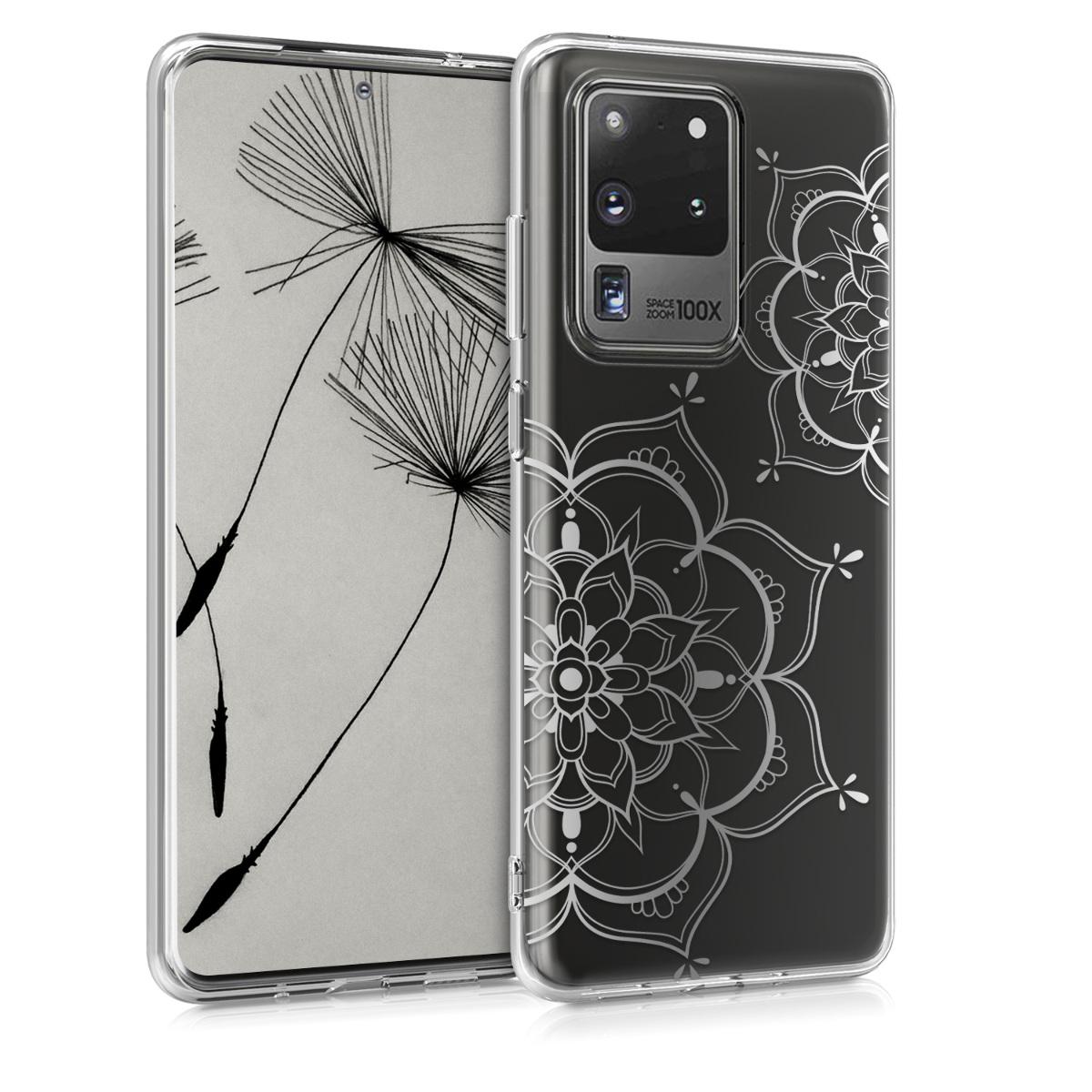Silikonové pouzdro / obal s motivem stříbrných květů pro Samsung S20 Ultra