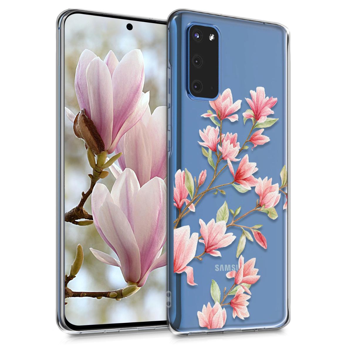 Silikonové pouzdro / obal pro Samsung S20 s motivem květiny magnolie