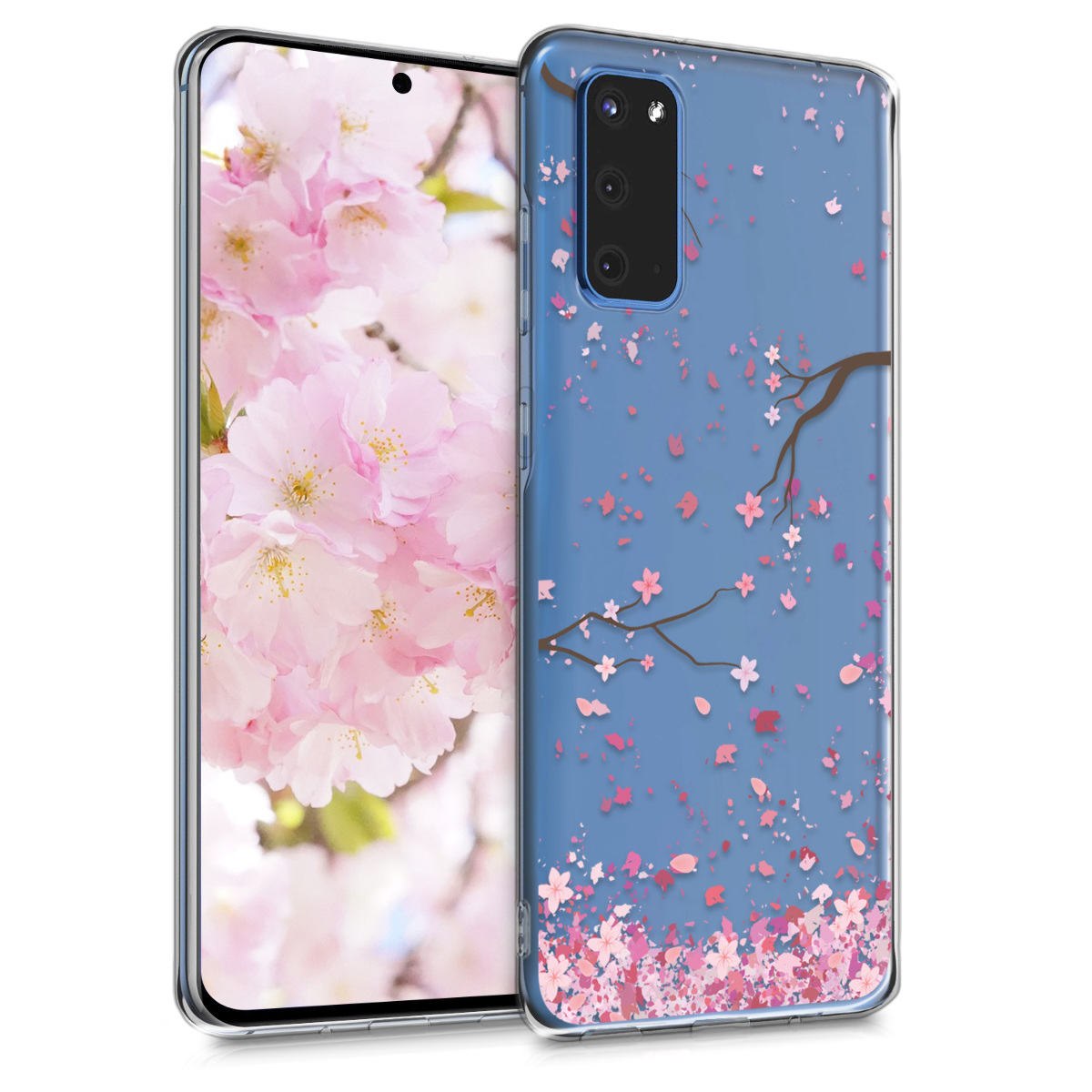 Silikonové pouzdro / obal pro Samsung S20 s motivem třešňového květu