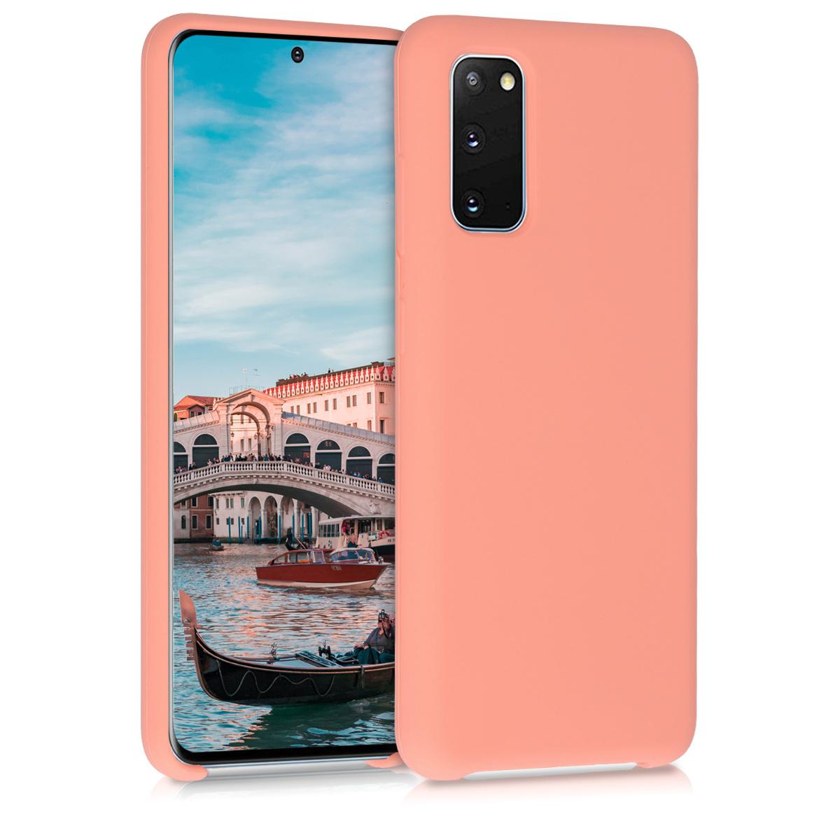 Korálově růžové silikonové pouzdro / obal pro Samsung S20