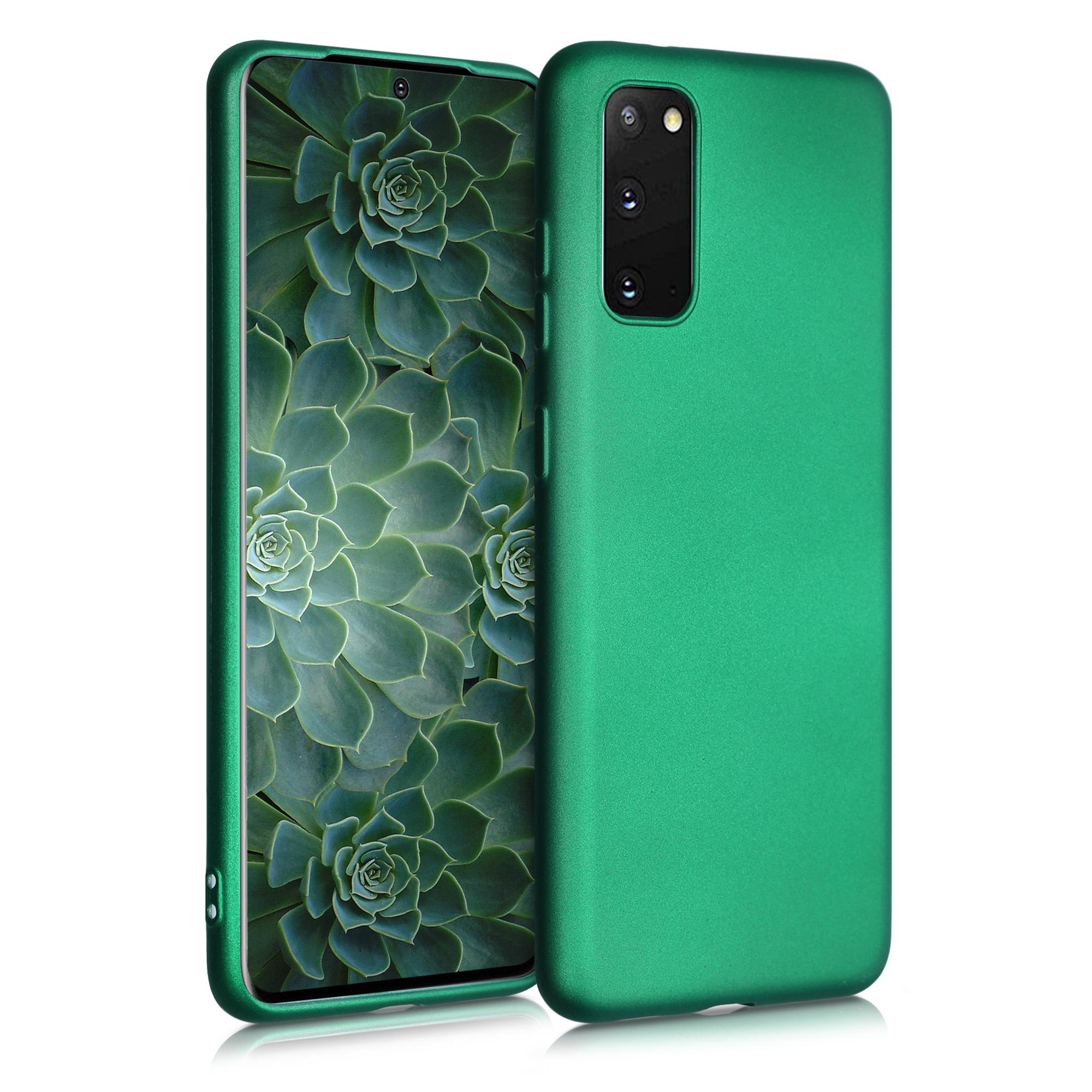 Tmavě zelené metalické silikonové pouzdro / obal pro Samsung S20