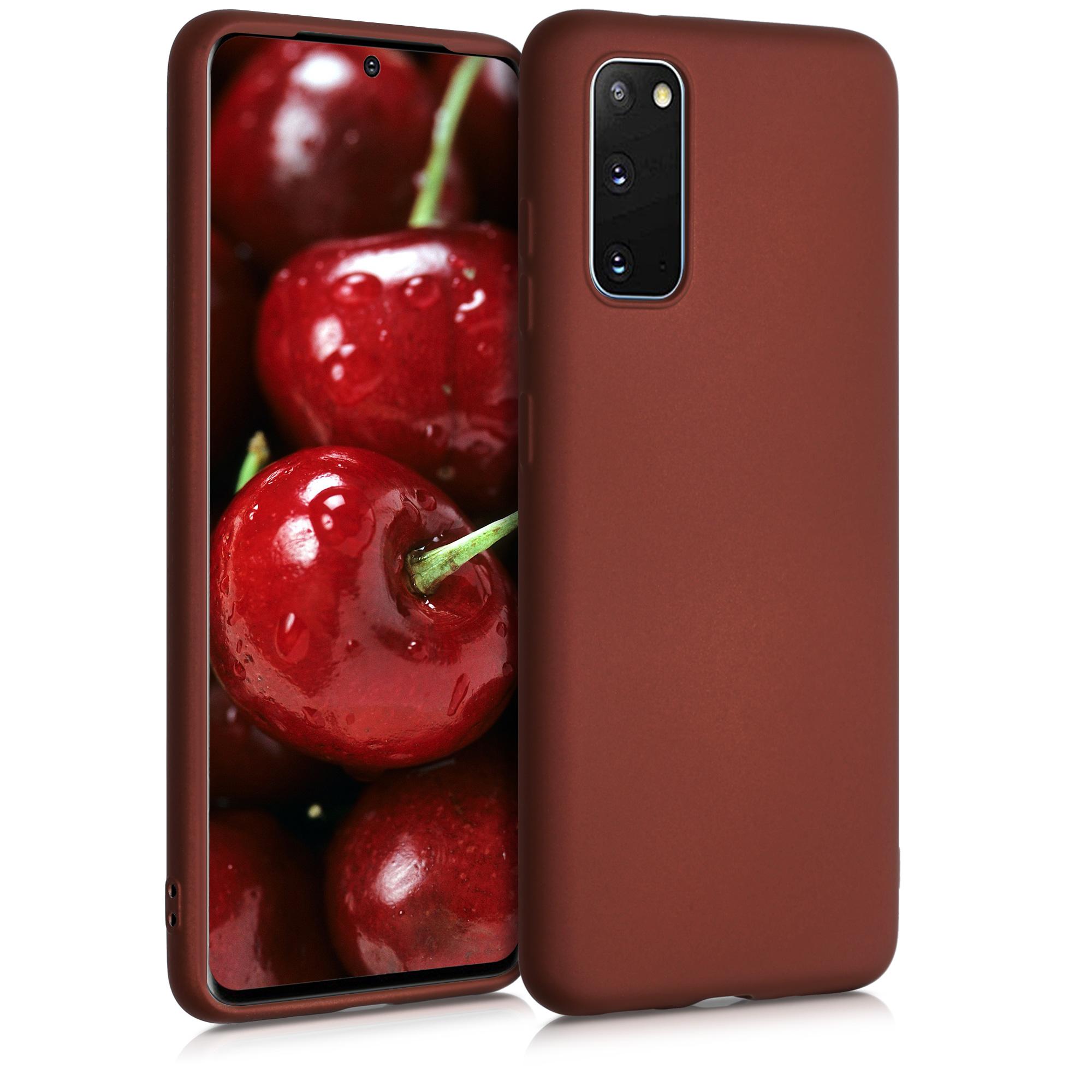 Rubínově červené metalické silikonové pouzdro / obal pro Samsung S20