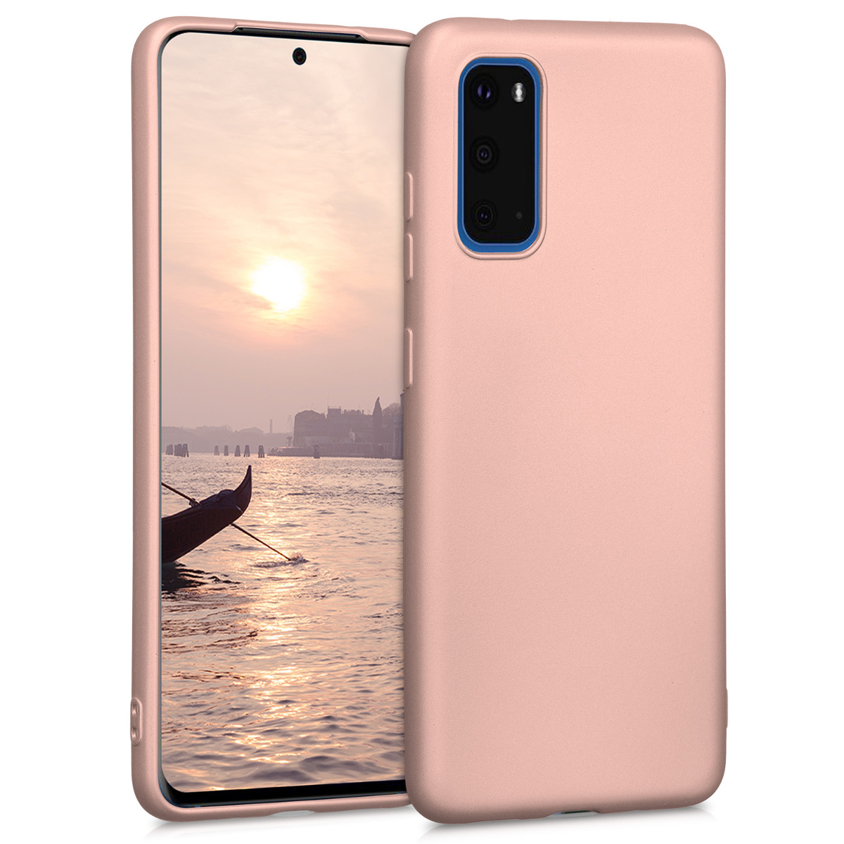 Rose gold metalické silikonové pouzdro / obal pro Samsung S20