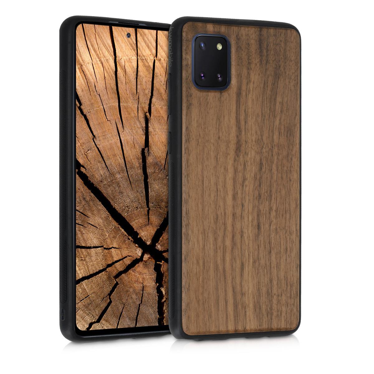 Dřevěné pouzdro pro Samsung Note 10 Lite - tmavě hnědá