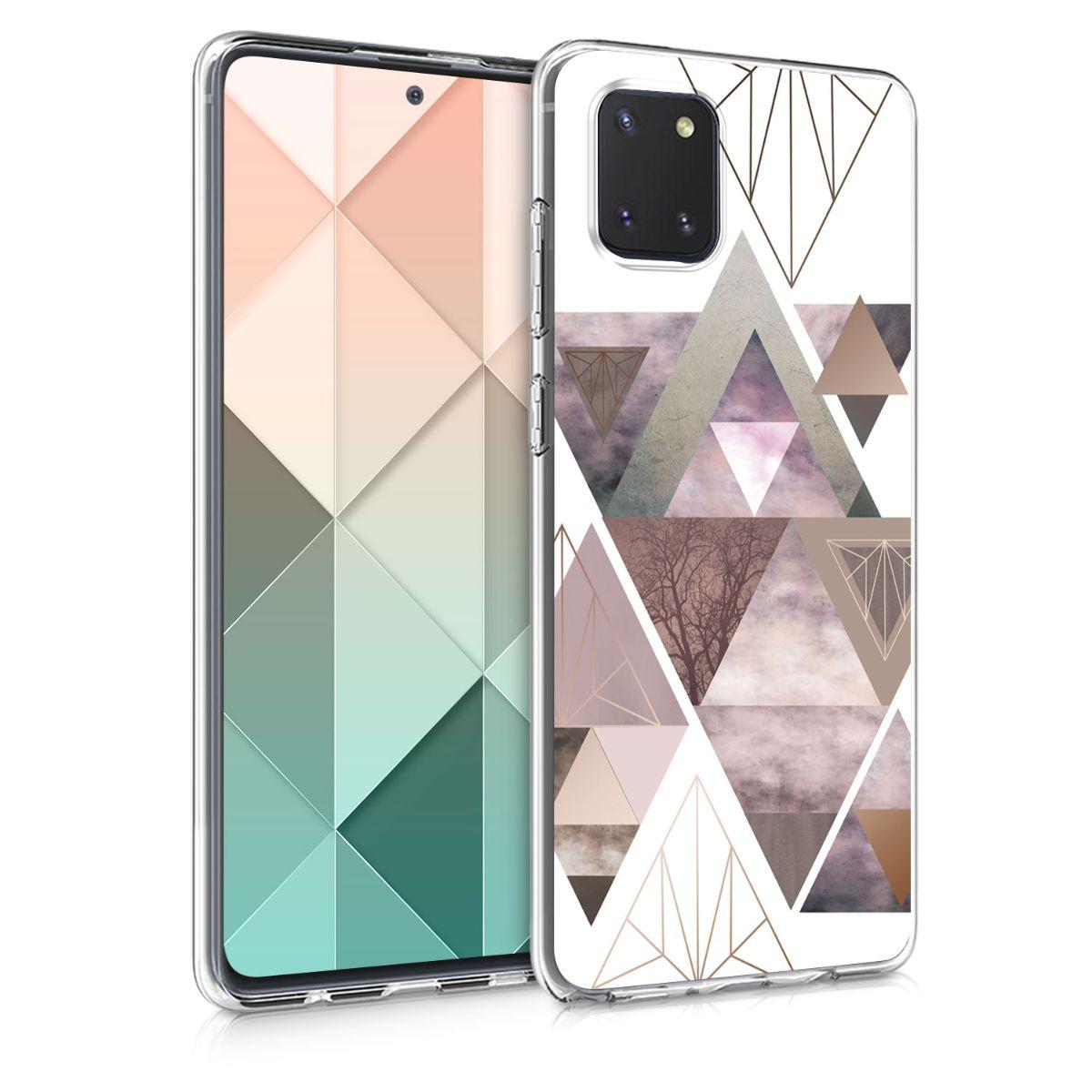 Kvalitní silikonové TPU pouzdro pro Samsung Note 10 Lite - Patchwork trojúhelníky světle růžové / starorůžové rosegold / bílé