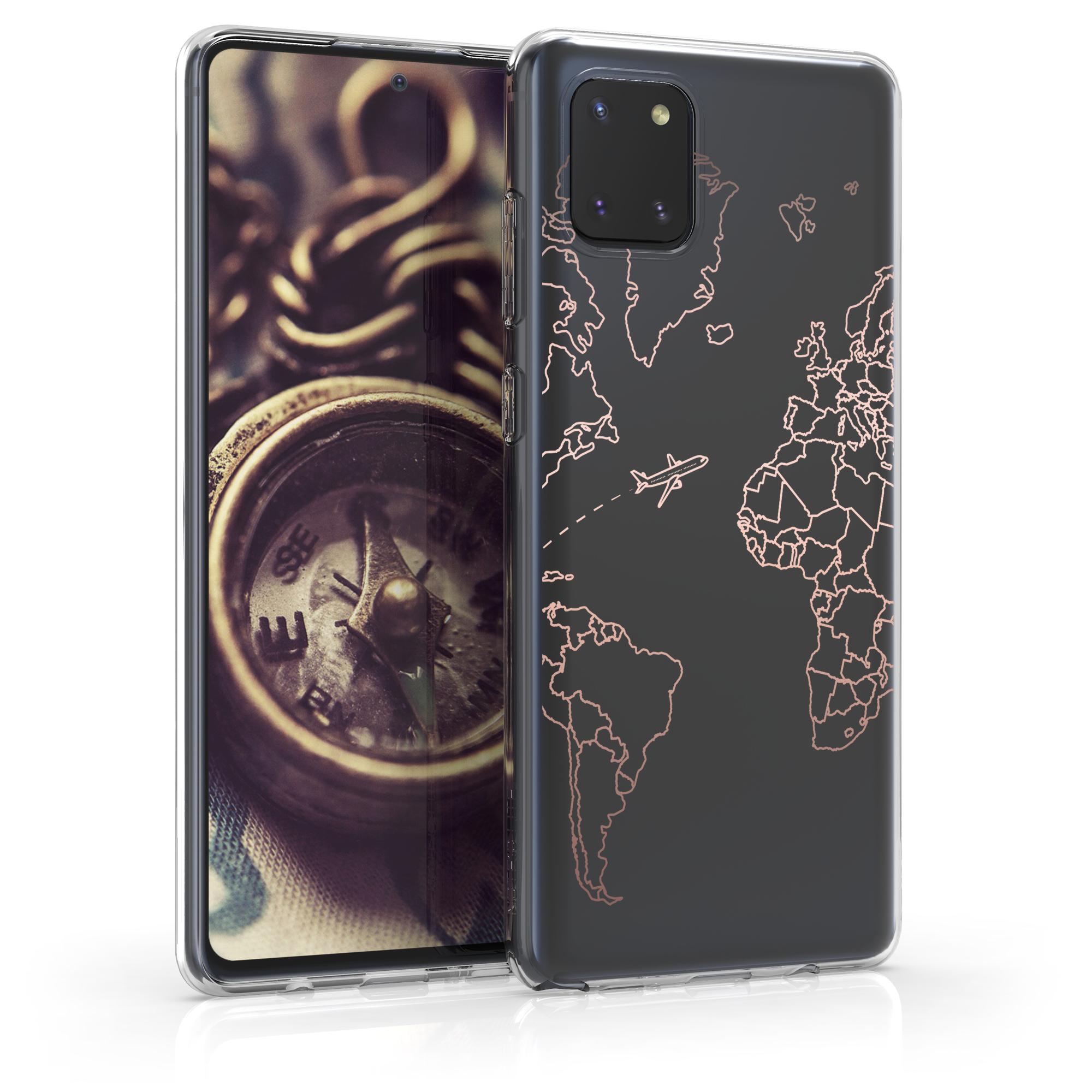 Kvalitní silikonové TPU pouzdro pro Samsung Note 10 Lite - Travel & Prozkoumat Rose Gold / Transparent