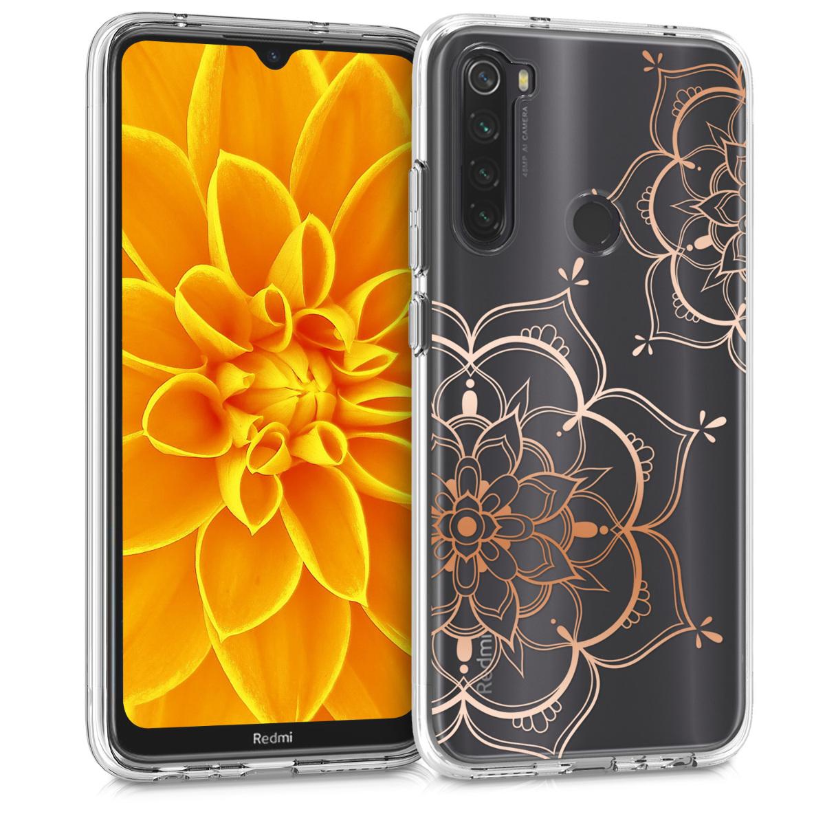 Kvalitní silikonové TPU pouzdro | obal pro Xiaomi Redmi Note 8T - květina Twins starorůžový růžovýgold / transparentní