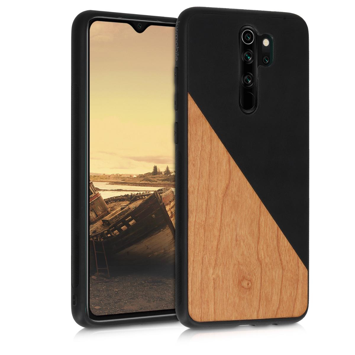 Dřevěné pouzdro | obal pro Xiaomi Redmi Note 8 Pro - Two-Tone dřevěný černý / hnědý