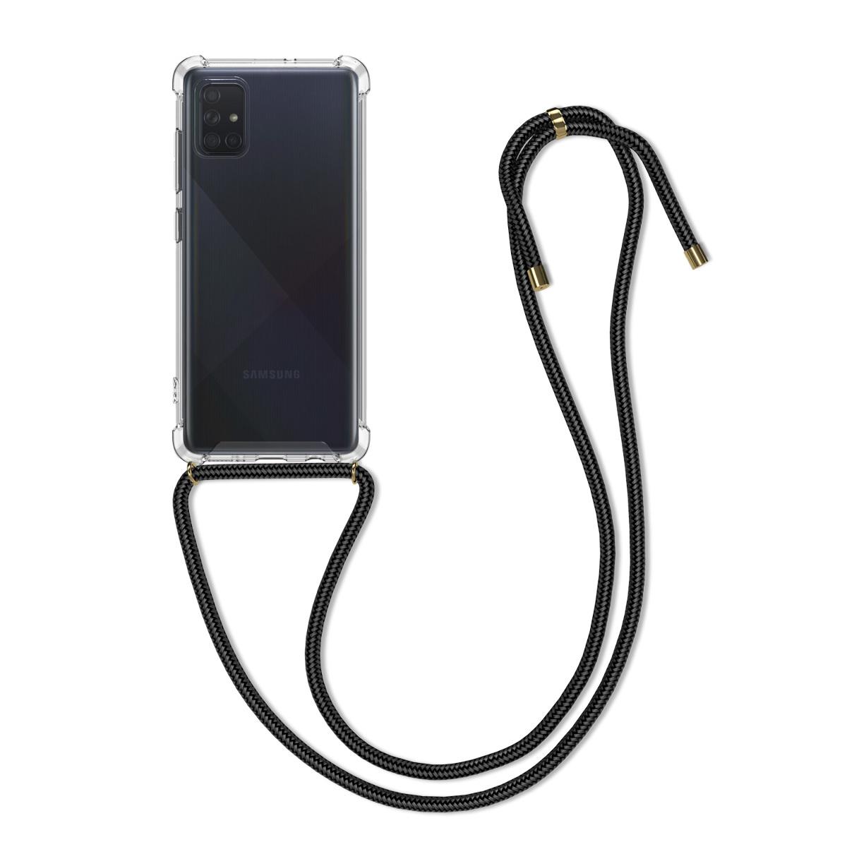 Kvalitní silikonové TPU pouzdro pro Samsung A71 - černé / transparentní
