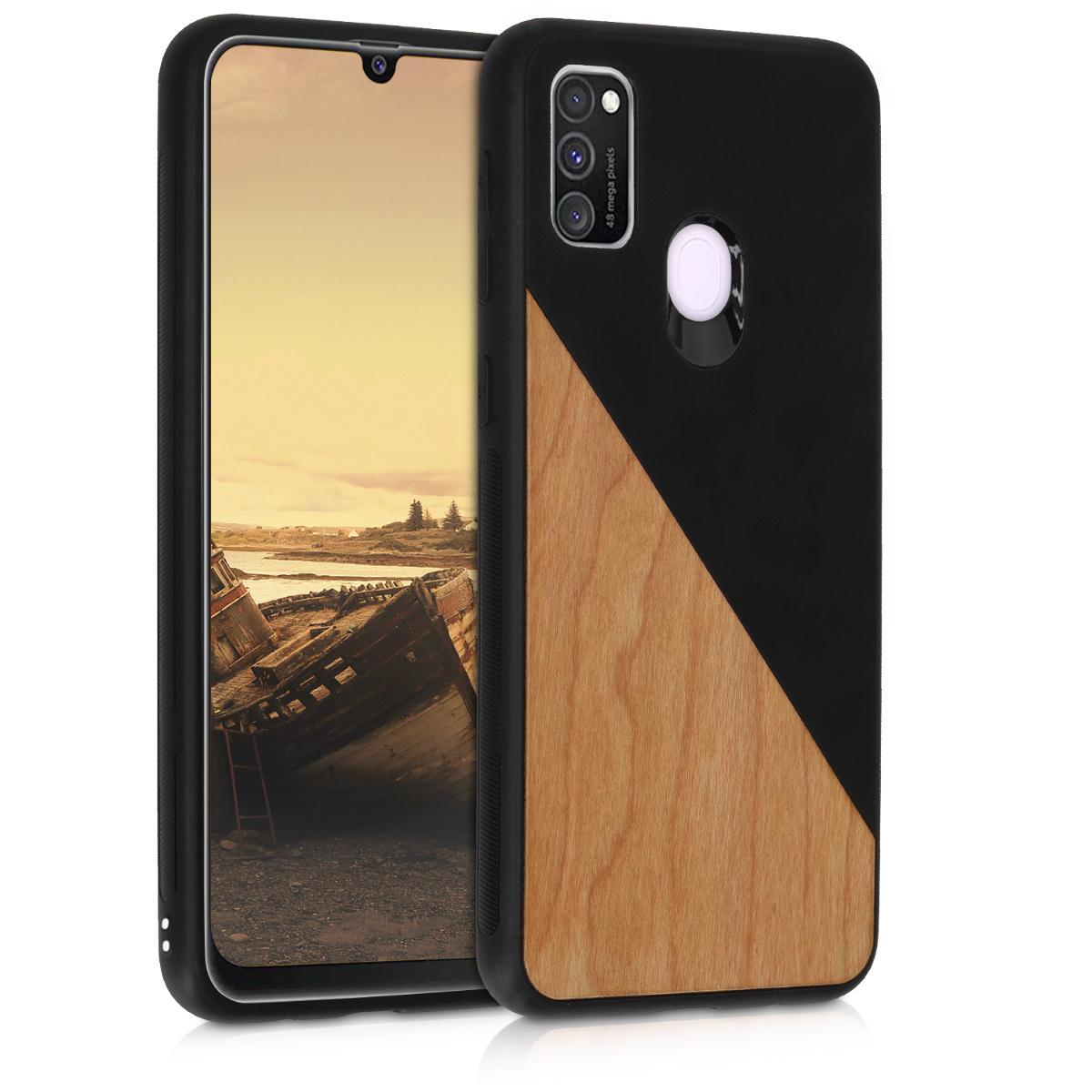 Dřevěné pouzdro pro Samsung M30s - Two-Tone Wood černé / Brown
