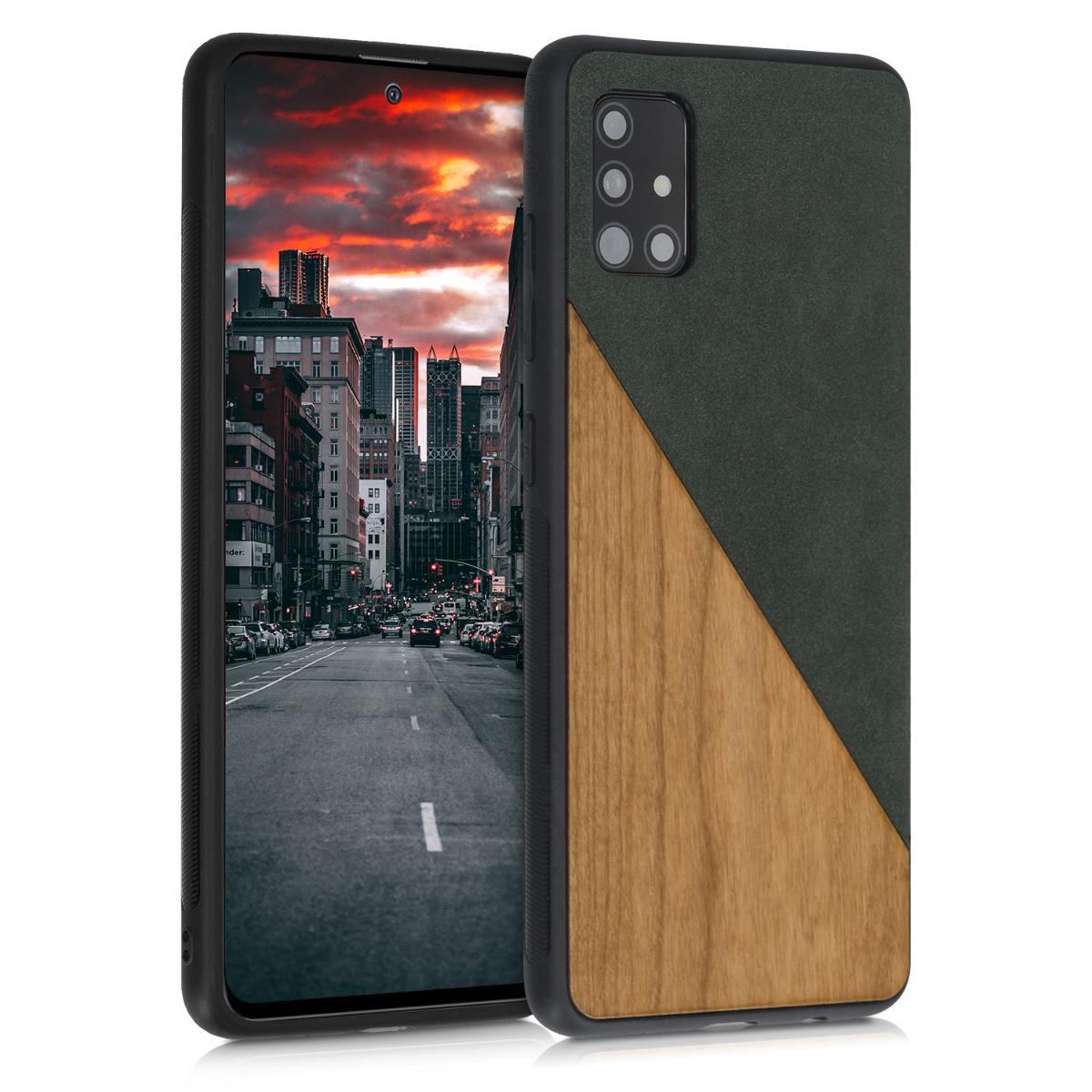 Dřevěné pouzdro pro Samsung A51 - Two-Tone Wood Dark Green / Brown