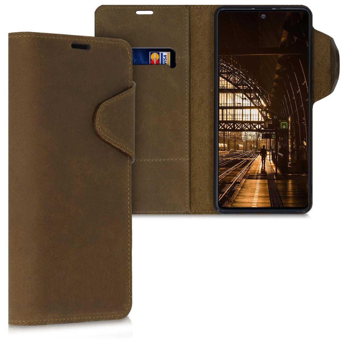 Kožené pouzdro pro Samsung Note 10 Lite - hnědé