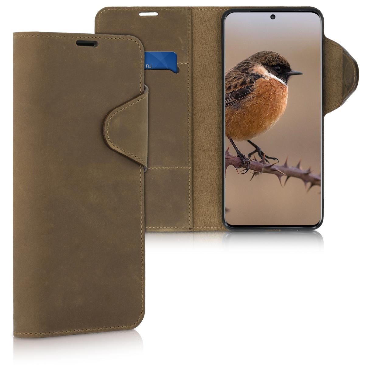Hnědé kožené peněženkové pouzdro / obal pro Samsung S20 Ultra