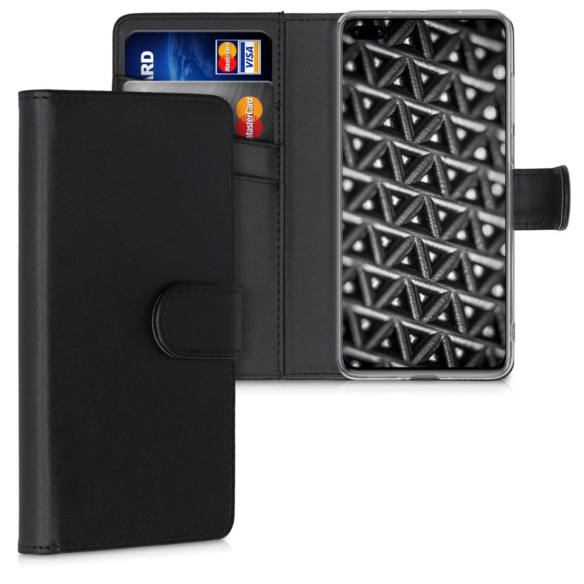 Černé kožené pouzdro / obal jako peněženka pro Huawei P40