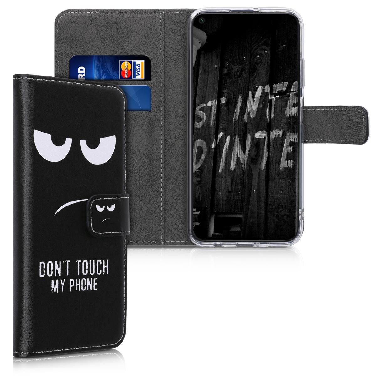 Černé kožené Don't Touch pouzdro / obal jako peněženka pro Huawei P40 Lite